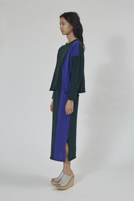 Issey Miyake Pleats Please Pocket Knit Skirt - Green/Purple