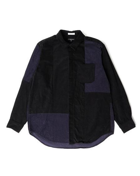 Engineered Garments Combo Short Collar Shirt - Black Cotton 21W Corduroy