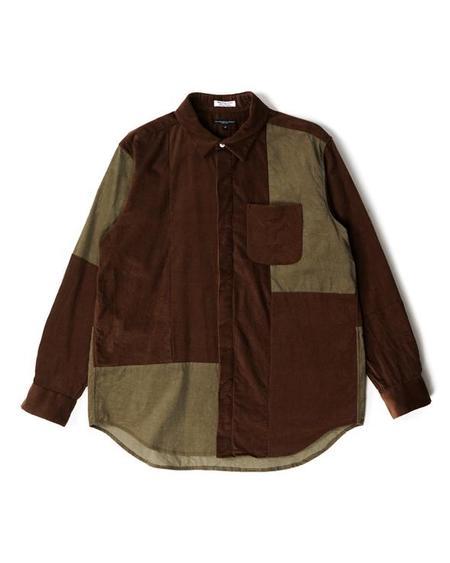 Engineered Garments Combo Short Collar Shirt - Brown Cotton 21W Corduroy
