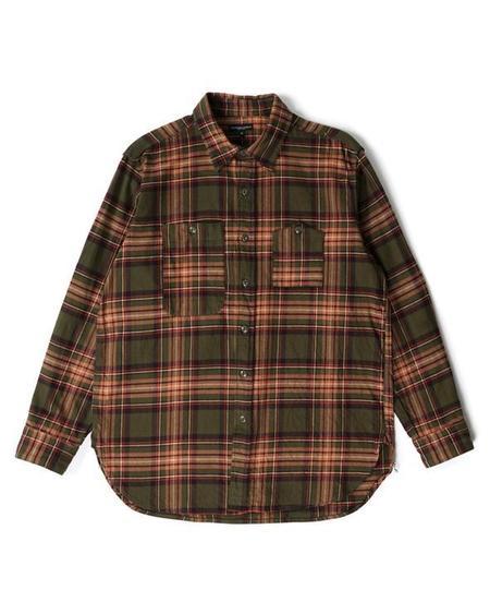 Engineered Garments Work Shirt - Olive/Brown Cotton Twill Plaid