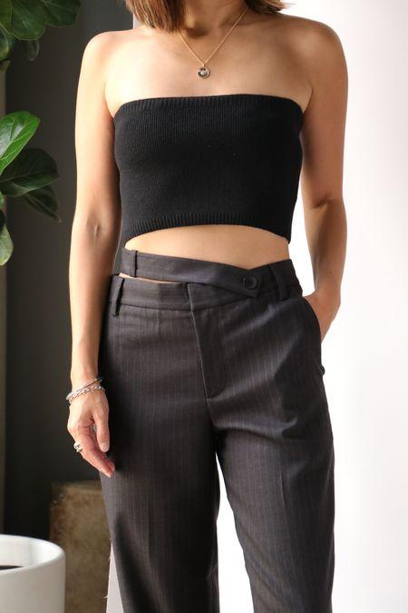 Tibi Soft Lambswool Bandeau Sweater - Black