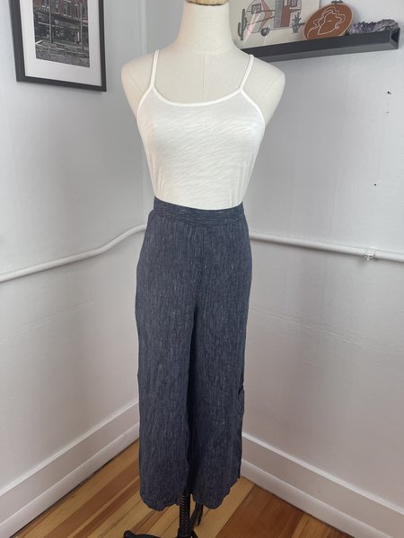 PRE-LOVED Habitat Striped Linen Trousers - Navy multi