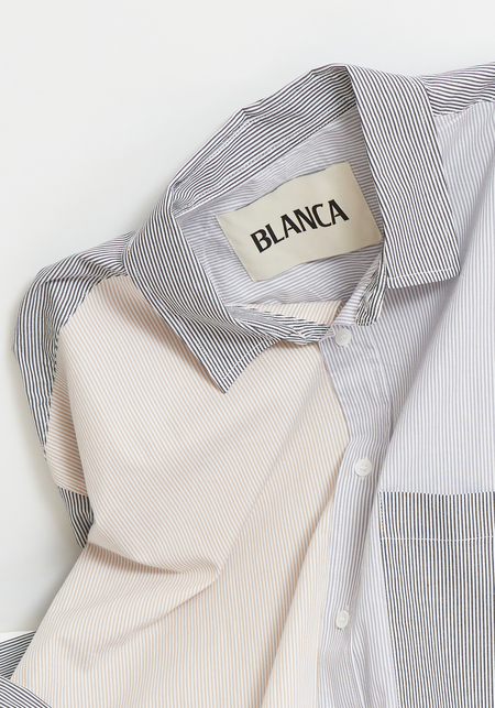 Blanca Benny Shirt - Cream Pinstripe