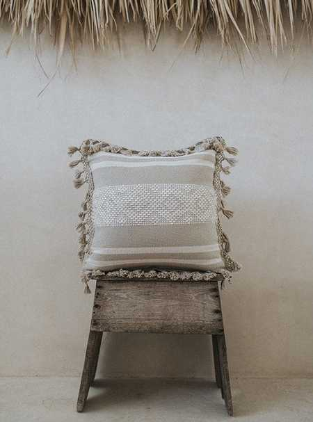 La Tiendita Tulum Embroidered Pillow - Beige