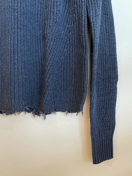 Autumn Cashmere Distressed Hem Sweater - Denim