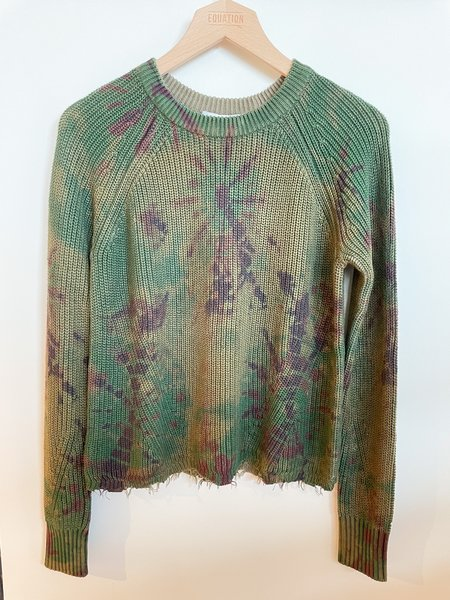 Autumn Cashmere Distressed Hem Sweater - Green Tie Dye
