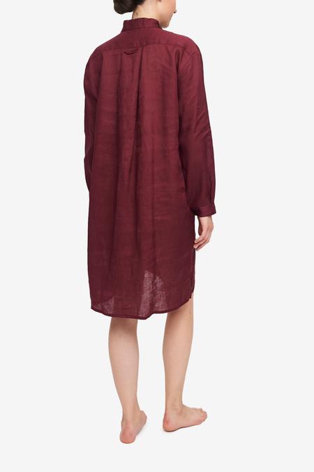 The Sleep Shirt Long Sleep Shirt - Burgundy Linen