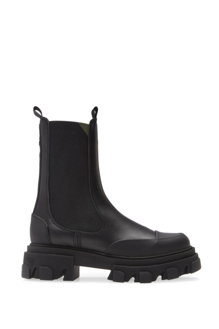 Ganni Mid Chelsea with Lug Sole Boot  - Black Leather