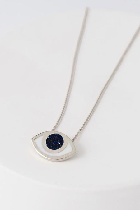 PIA Third Eye Pendant Necklace - Silver & Goldstone