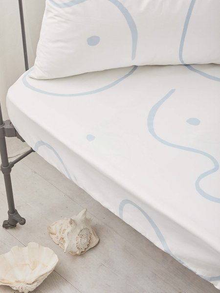 Mosey Me Salento Fitted Cot Sheet - Blue