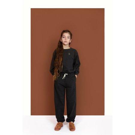 Kids gray label dropped shoulder sweater - black