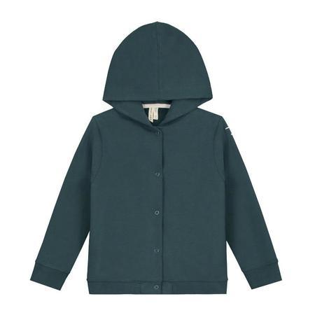 Kids gray label hooded cardigan - blue grey
