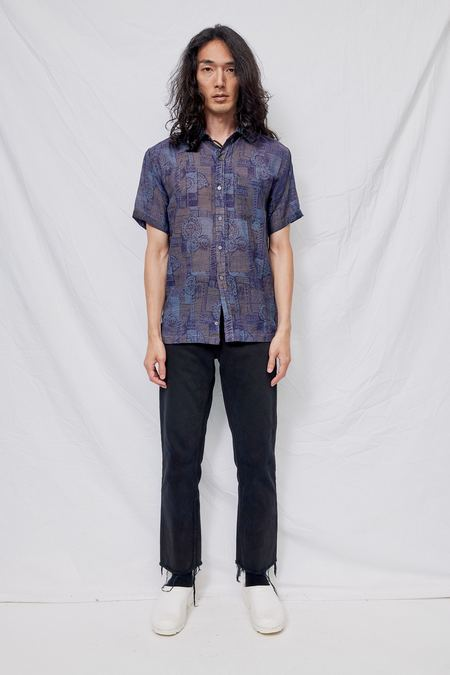 Vintage Abstract Blue Stone Button Up - Abstract Blue