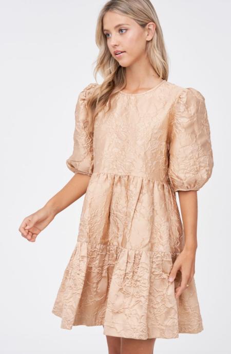 En Saison Jacquard Babydoll Dress - Natural