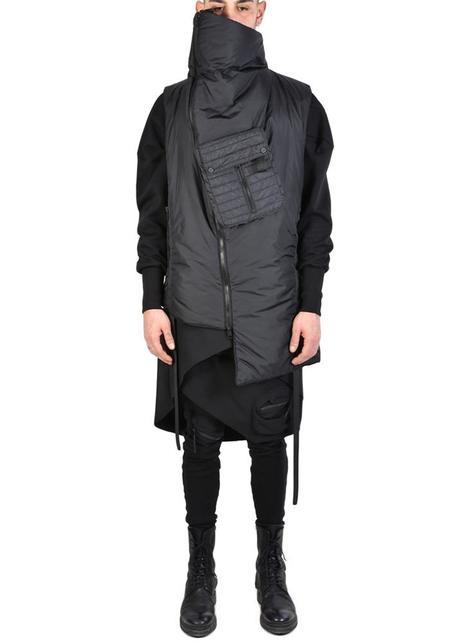 Unisex La Haine Asymmetric High Funnel Neck Sleeveless Incognita Puffer Vest