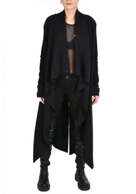 La Haine Long Asymmetric Boiled Virgin Wool Saifo Cardigan