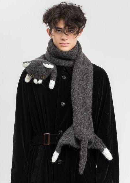Doublet Stuffed Cat Hand-Knitting Scarf - Black