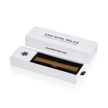 Maison Balzac 'And Now Relax' Amber Incense Holder & Sticks Set