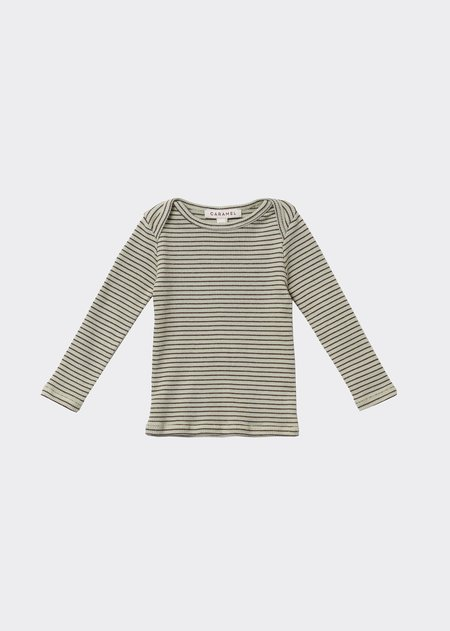 kids Caramel Kishon Baby T-Shirt - Lemon Chocolate Stripe