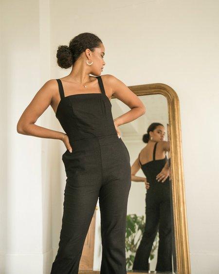 harly jae Sample Bardot Jumpsuit - Black