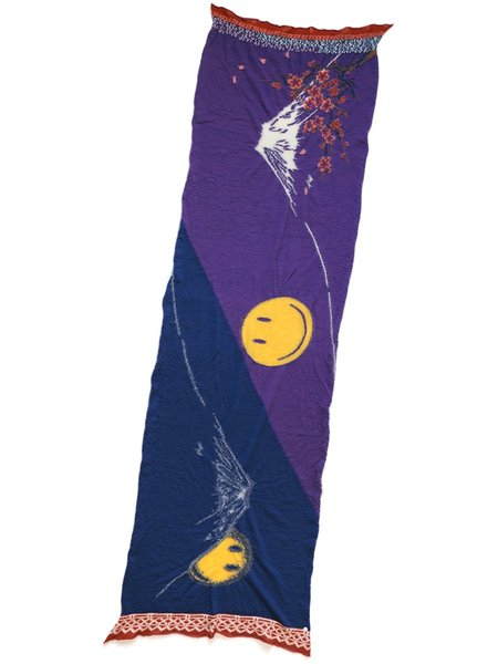 Kapital Woolen Cherry Mirror Fuji Muffler Scarf - Purple