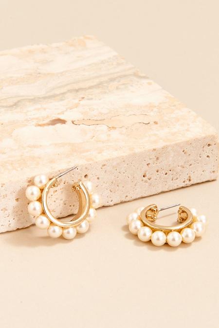 Mignonne Gavigan Wynnie Pearl Hoop - White Gold