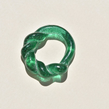 Leigh Miller Seconds Quality Half Twist Glass Ring - Emerald
