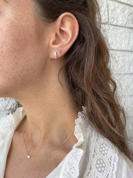 EF Collection Prong Set Diamond Baguette Huggie Earring - 14K WHITE GOLD