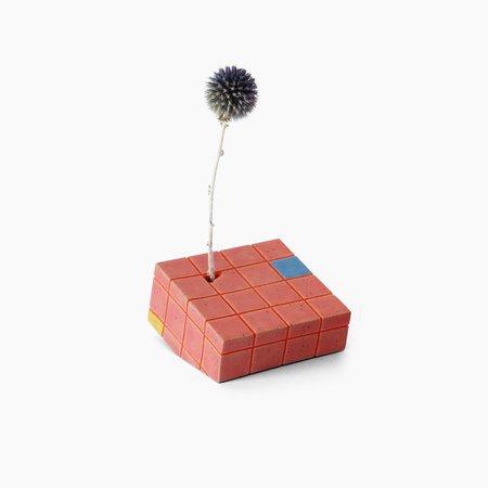 Poketo Eunbi Grid Vase - Red