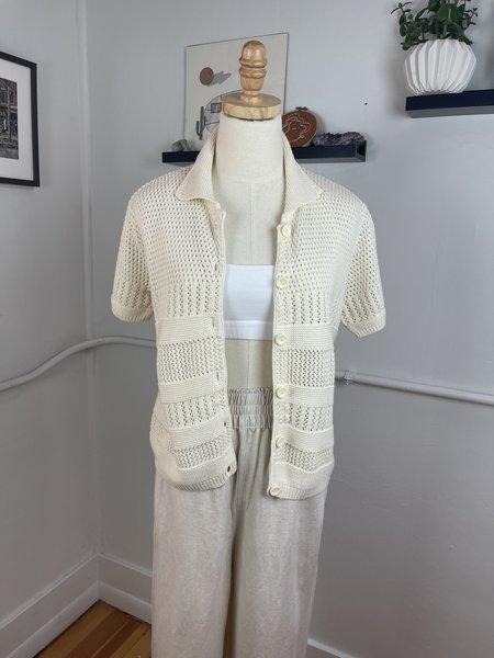 Vintage Button Front Knit Top - White