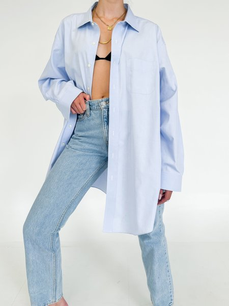 Vintage Relaxed Button Down Shirt - Sky