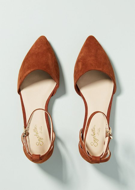 Seychelles Plateau Suede Strappy Flats - Rust