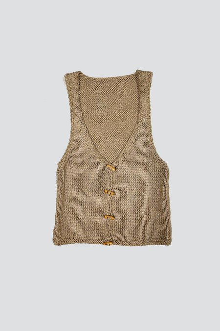 Vintage Cotton Knit Toggle Tank - Taupe