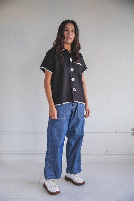Bode Pearly Royal Linen Short Sleeve Shirt - Black