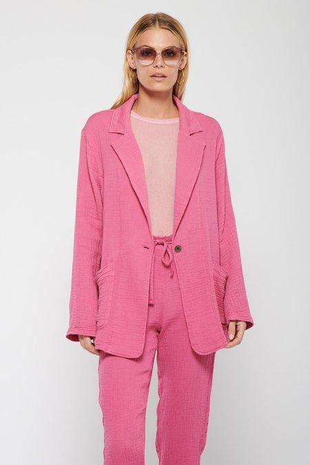 Raquel Allegra Boxy Gauze Blazer - Bright Pink