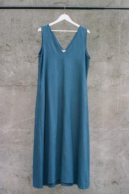 ARIELLE Circle Irish Linen Dress - Indigo