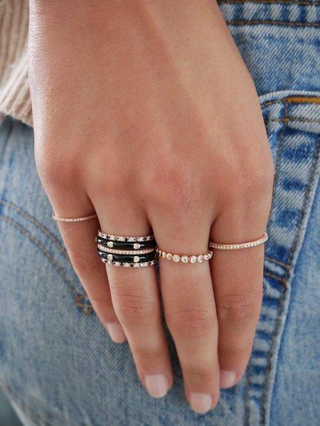 EF Collection 3 Diamond Enamel Stack Ring - 14K YELLOW GOLD