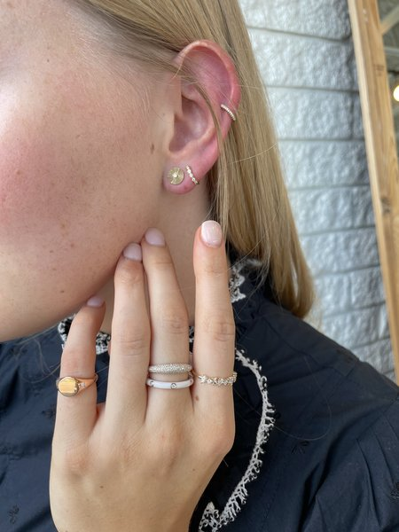 EF Collection 3 Diamond White Enamel Stack Ring - 14K YELLOW GOLD