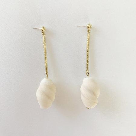 Crescioni oliva earrings - bone