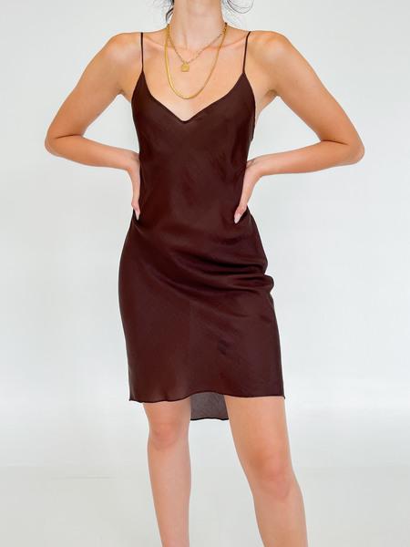 Vintage Silk Slip Dress - Cocoa