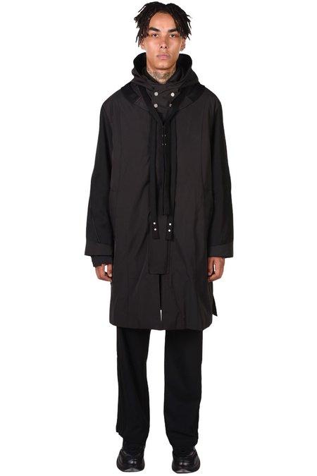 C2H4 Panelled Shelter Distressed Parka coat - black