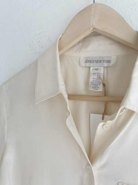 Vintage Short Sleeve Silk Top - cream