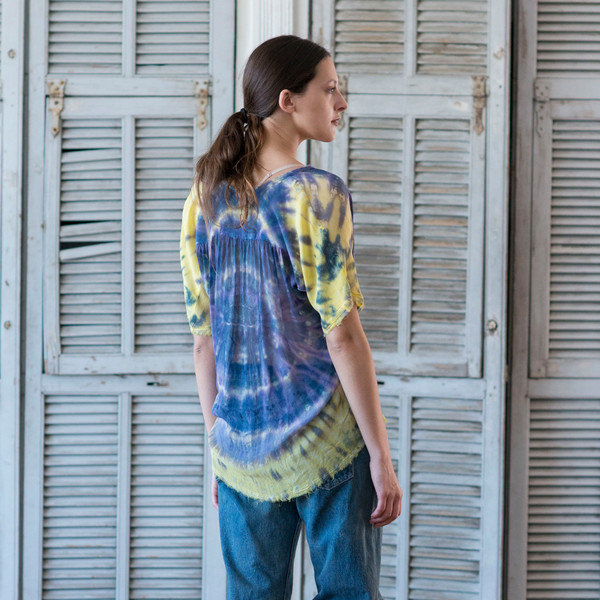 Raquel Allegra Tie Dye Short Sleeve Shirred Blouse