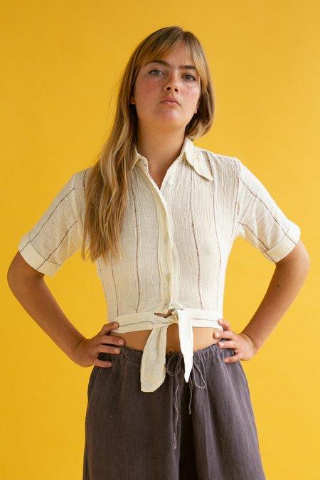 Vintage 1970s Tie Shirt - Cheese Cloth Stripe