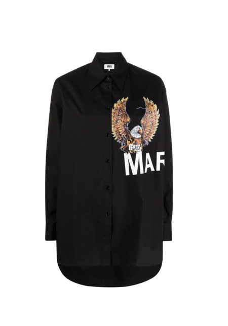 MM6 Maison Margiela Eagle Logo Shirt - Black Poplin