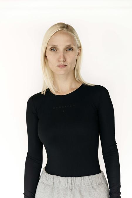 MM6 Maison Margiela Logo Long Sleeved Bodysuit - Black