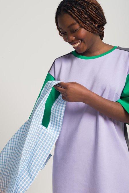 Odeyalo PICKUP grid pattern bag - blue and white