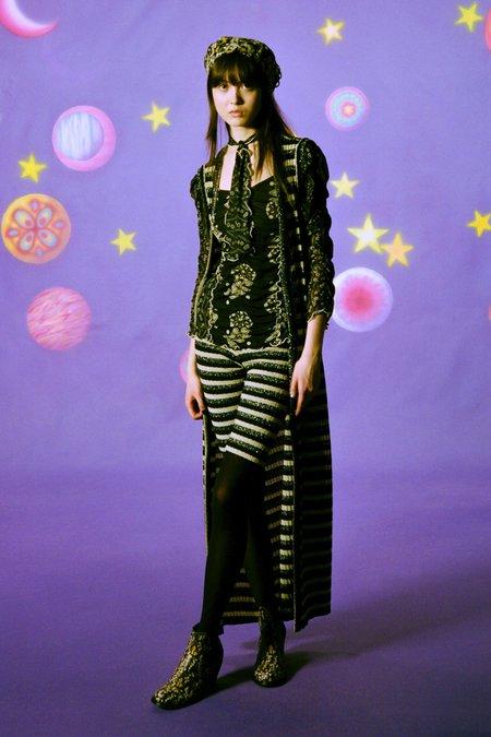 Anna Sui Metallic Stripe Knit Shorts - Black Multi