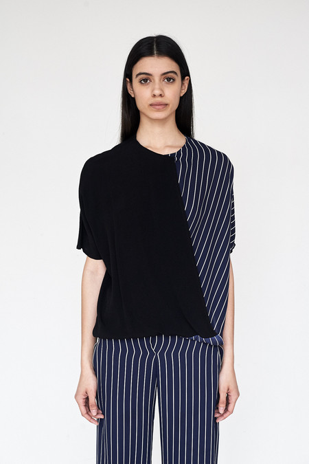 Assembly New York Crepe/Stripe Twist Top
