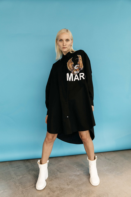 MM6 Maison Margiela Eagle Logo Shirt Dress - Black